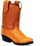 OR1017 Children's Old West Cognac Ostrich Print Cowboy Boots